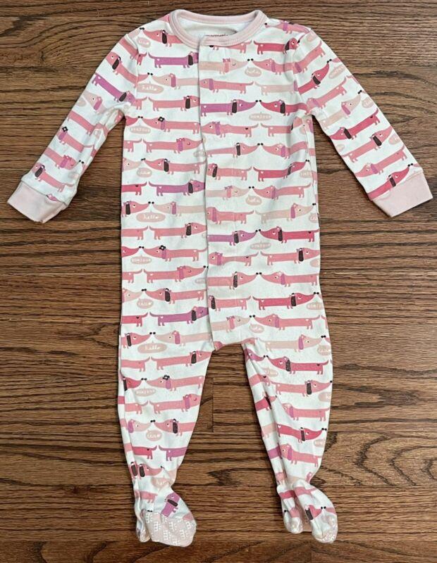 Magnetic Me Footie Sleeper Pink Weenie Dog Print Size 9-12m Baby Girl