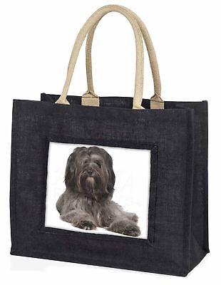 Tibetan Terrier Dog Large Black Shopping Bag Christmas Present Idea  , AD-TT2BLB