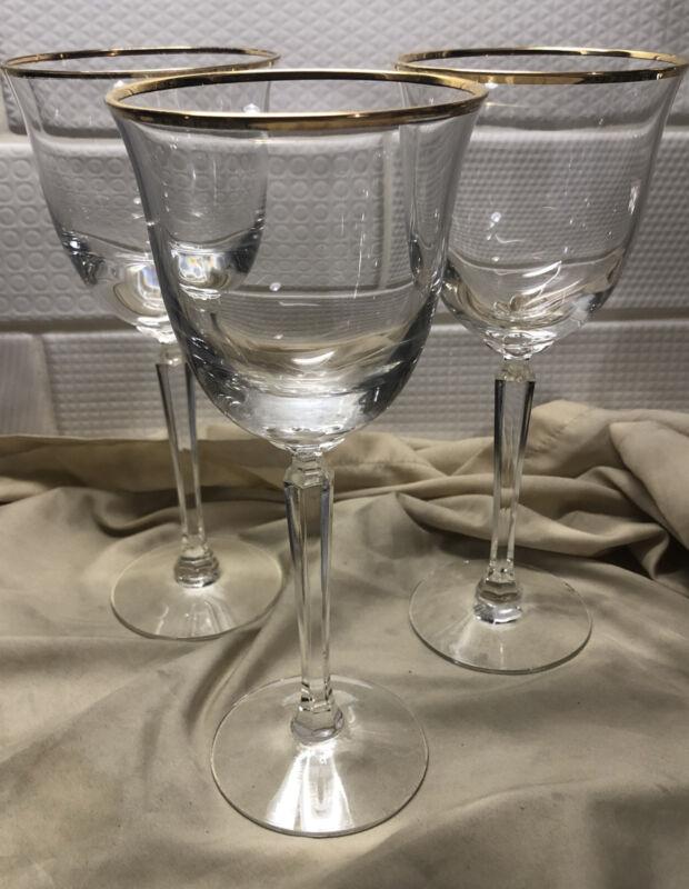 "LENOX CRYSTAL HAYWORTH  WINE GLASS 7 1/3""  GOLD TRIM  Set Of 3"