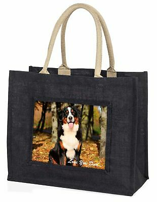 Bernese Mountain Dog 'Love You Dad' Large Black Shopping Bag Christmas, DAD-9BLB