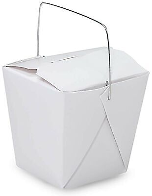 Made In Usa 100-count White 8 Oz Chinese Take Out Boxes With Handles Leak An...
