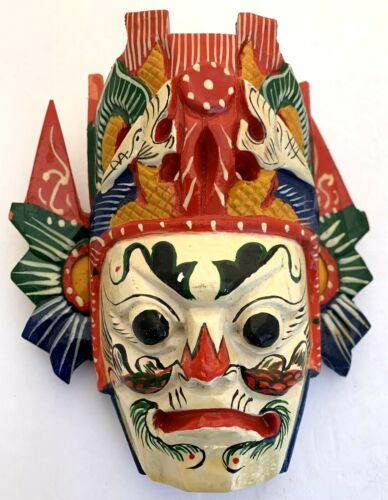 CHINESE OPERA FOLK ART WOOD HAND CARVED PAINTED NUO MASK