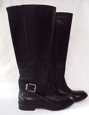 NEW Wmn's Clarks Black Leather Pita Arizona Tall Wide Calf Flat Fashion Boot 7