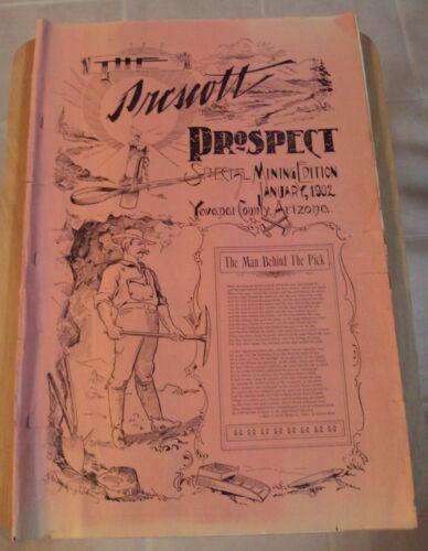 """RARE 1902 Special MINING Edition """"The PRESCOTT PROSPECT"""" Arizona YAVAPAI County~"""