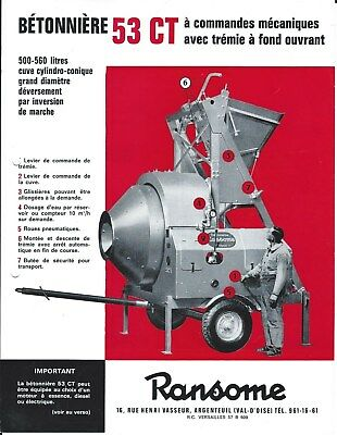 Equipment Brochure - Ransome 53ct Betonniere Cement Mixer - French Lang E4465