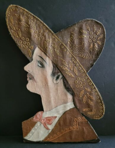 Antique Profile of Vaquero ❦ Hand Painted Fabric on Carved Wood Folk Art Mexico