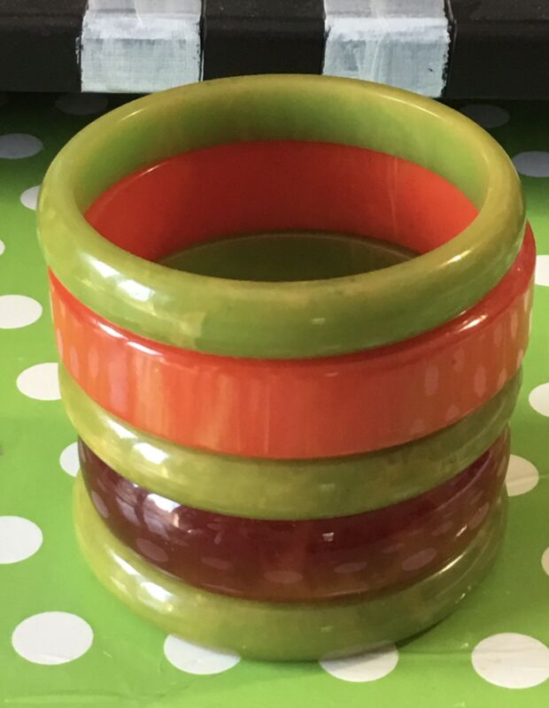 BAKELITE BRACELET SET OF 5-GREAT COLORS-ALL TESTED  $60  Free SHIPPING