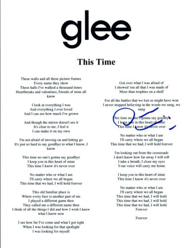 Darren Criss Signed Autographed THIS TIME GLEE Song Lyric Sheet COA