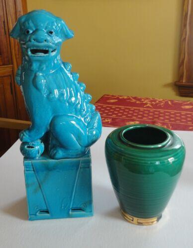 "15"" Asian Blue Ceramic Fu Foo Dog Figurine DKP Green Gold Style Pottery Vase"