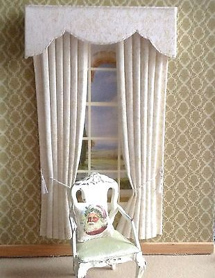 """12th IVORY/GOLD GLITTERY Dollhouse Miniature Curtains LARGER SIZE 5 X 8"""""""