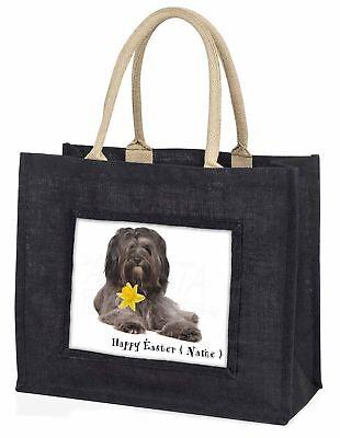 Personalised Tibetan Terrier Large Black Shopping Bag Christmas Pr, AD-TT2DA2BLB