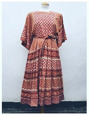 Anokhi Vintage Indian Cotton Dress Boho Rare 10/12