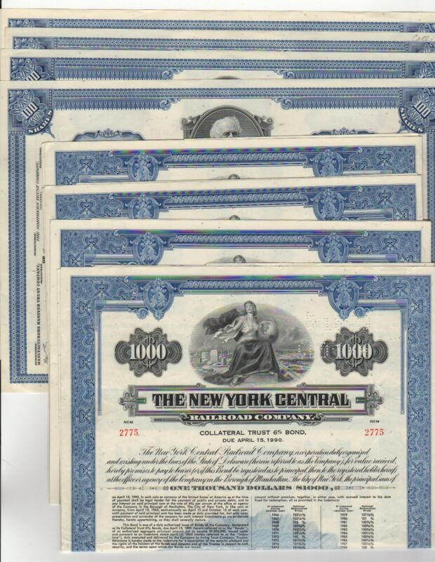 Lot of 8 - New York Central Railroad Company Bond/Stock Certificate