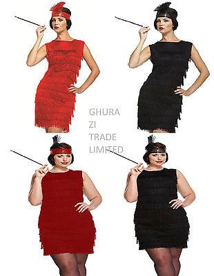 Ladies Flapper Black Red 20s 30s Gatsby Fancy Dress Costume Standard & Plus Size