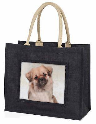 Tibetan Spaniel Dog Large Black Shopping Bag Christmas Present Idea  , AD-TS1BLB