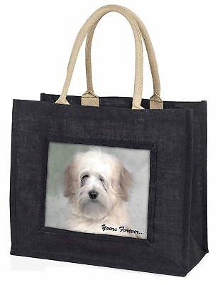 Tibetan Terrier 'Yours Forever' Large Black Shopping Bag Christmas P, AD-TT1yBLB