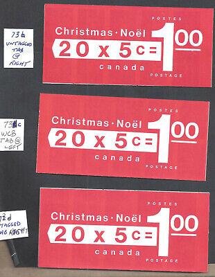 CANADA 1969 CHRISTMAS BOOKLETS SCOTT 73b, 73c & 73d VF MINT NH (BS19178)