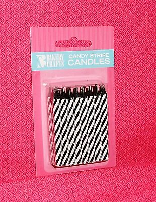 Zebra,Black/White Stripe Birthday Candles,Cake Decoration,24ct.Wax.Bakery Crafts Black And White Striped Candle