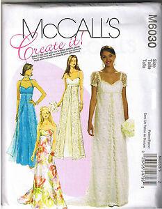 Empire waist princess seam wedding prom dress gown sewing for Empire waist wedding dress patterns