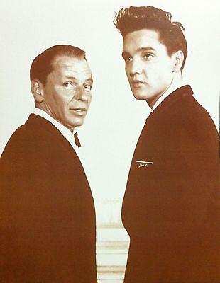 "Frank Sinatra & Elvis Presley Poster Print - 1960 - 11""x14"" Sepia"