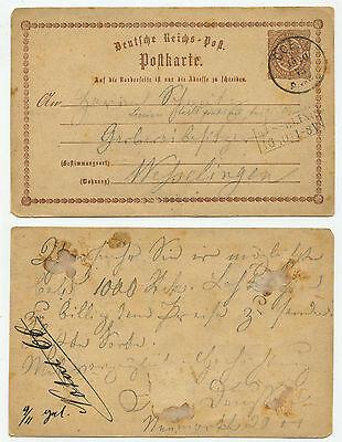 34668 - Ganzsache P 1 - Postkarte - Coeln 15.10.1873 nach Wesselingen