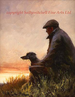 Mick Cawston open editon print One Man and his Dog, Lurcher, poaching,