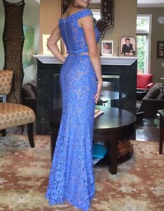 DESIGNER stunning lace two piece prom dress