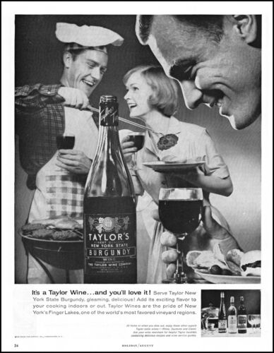 1960 Taylor Wines outdoor barbecue New York State retro photo print ad adL94