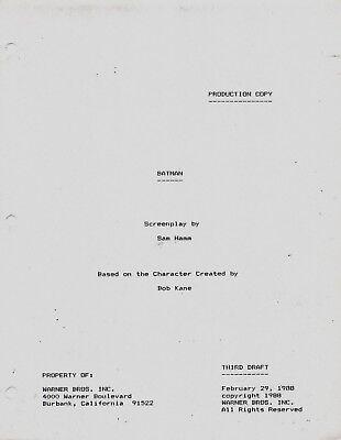 Batman Original Production Copy Third Draft 2/29/1988 Script