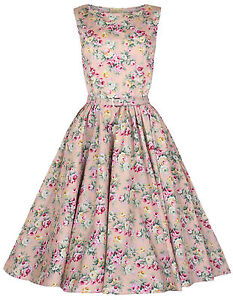 NEW LINDY BOP CLASSY AUDREY VINTAGE 1950's ROCKABILLY PINUP SWING DRESS HEPBURN