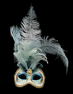Mask from Venice Colombine IN Feathers Ostrich Blue-Mask Venetian - 1346 V78
