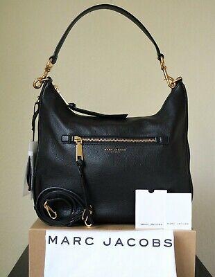 Marc Jacobs Recruit Hobo Shoulder Bag Handbag Purse Leather Black Gold Brand New