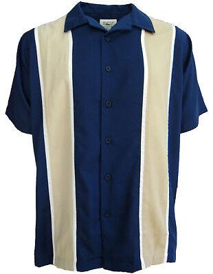 NWT Mens Button Down Camp Shirt Retro Bowling Blue Rockabilly 60s Large New L