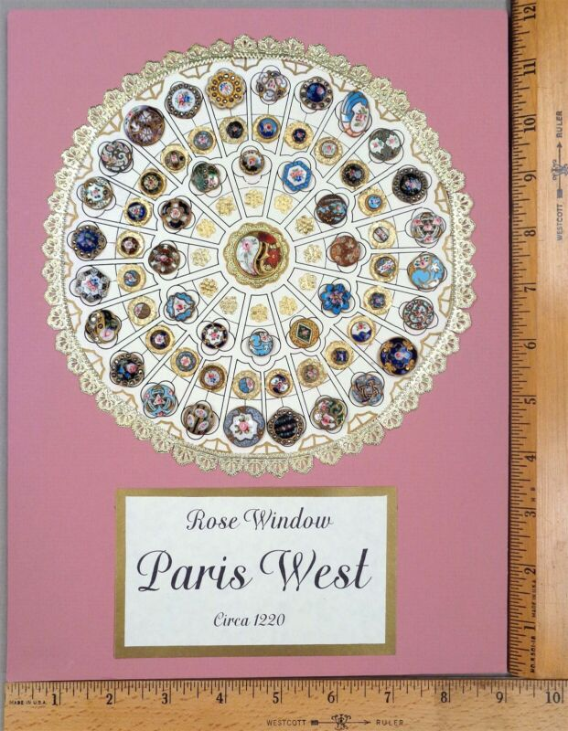 Card of 51 Antique BUTTONS, Enameling on Brass ROSE WINDOW Design, WOW