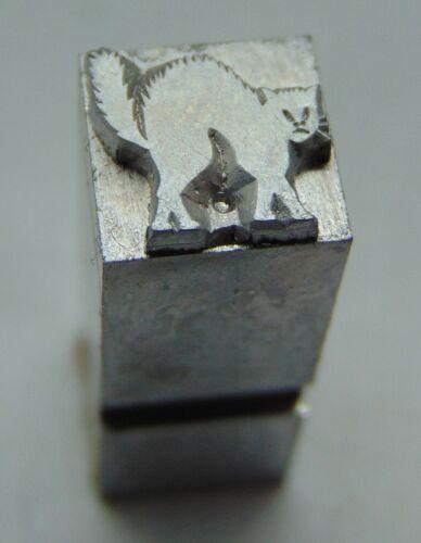Printing Letterpress Printers Block Black Cat Arched Back Animal