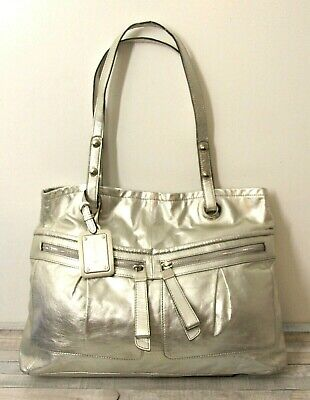 LARGE B. MAKOWSKY SILVER GENUINE LEATHER TOTE HOBO SHOULDER BAG HANDBAG PURSE