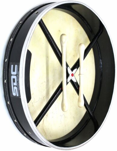 BODHRAN DRUM Irish Celtic 18 Inch Drums + CASE + 2 Tippers BLACK FREE SHIPPING