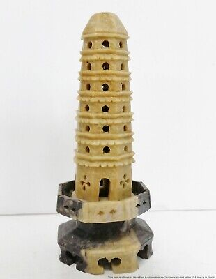 Antique Qing Chinese Carved Soapstone Pagoda Sculpture