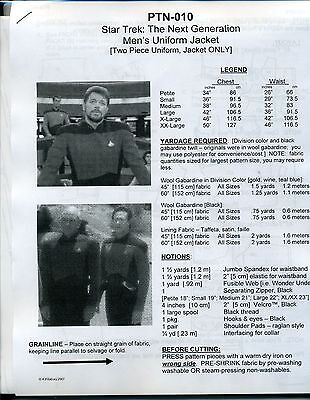 NEWLY REVISED Star Trek TNG Men's Uniform Jacket Pattern:  P-XX  --   PTN-010 (Star Trek Tng Uniforms)