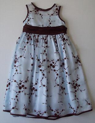 Bonnie Jean Girls Dress 5 Blue Brown Sheer Floral flower girl wedding party