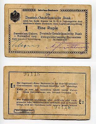 1 Rupie DOA 1.1.1915 Serie E2 gebraucht Unterschrift Schön grüne Tinte  Ros.916t