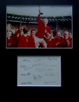 England 1966 World Cup Winners signed autographs PHOTO DISPLAY football