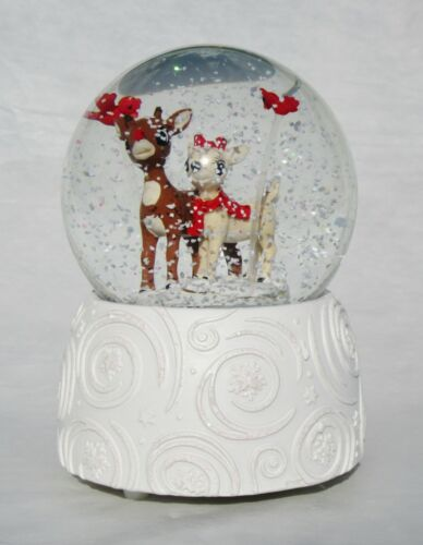 "NIB RUDOLPH & CLARICE MUSICAL CHRISTMAS GLITTERDOME SNOW GLOBE 6""H PLAYS RUDOLPH"