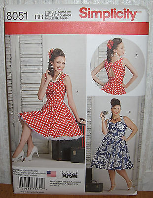 Womens/Misses Circle Skirt Dresses Sewing Pattern/Simplicity 8051/SZ 20W-28W/UCN