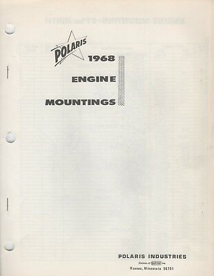 1968 POLARIS ENGINES HIRTH,  SACHS, WANKEL MOUNTINGS PARTS MANUAL (878) for sale  Maple Plain