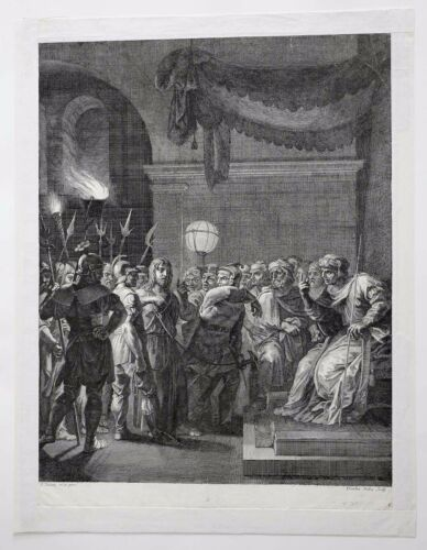 Claudine Bouzonnet-Stella (1641-1697) Jesus Christ Christianity Large Engraving