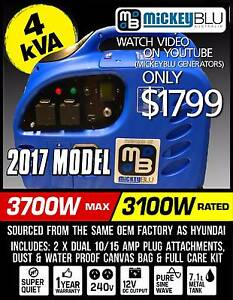 Generator 4kva Mickey Blu remote control, ideal for caravans Melrose Park Mitcham Area Preview