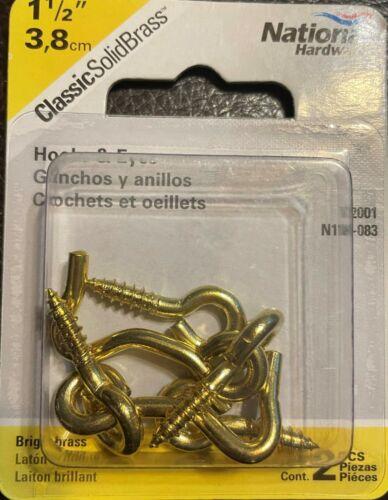 "National Hardware N118-083 Solid Brass Hook & Eye 1-1/2"" FREE SHIPPING"