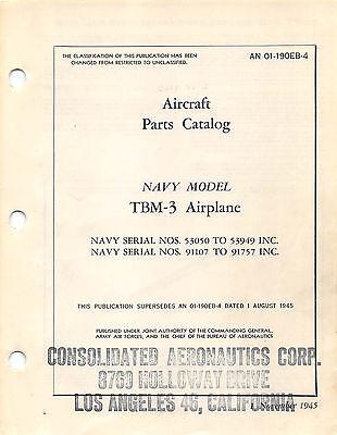 TBM-3 Aircraft Parts Catalog Aircraft Manual WW II Book Flight Manual - CD  Aircraft Parts Catalog Manual