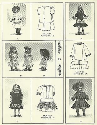 "ANTIQUE FRENCH GERMAN 5""-8"" DOLL DRESS WARDROBE PATTERNS  BRU JUMEAU ALL BISQUE"